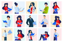 Vector Illustrations Of Different People Read Books. Concepts For Graphic And Web Design, Marketing Material, Business Presentation Templates, Education, Book Store And Library, E-book.