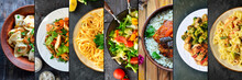 Collage Of Various Food. Meat Dishes And Vegetable Dishes. Menu. Food On The Plates.