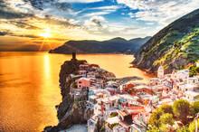 Vernazza Village At Sunset, Ci...
