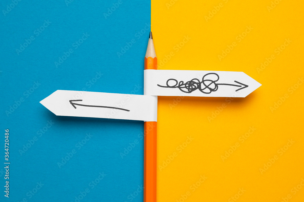 Fototapeta Pencil - direction indicator - order and chaos. Reorganization and analysis, choosing right solution to problem.