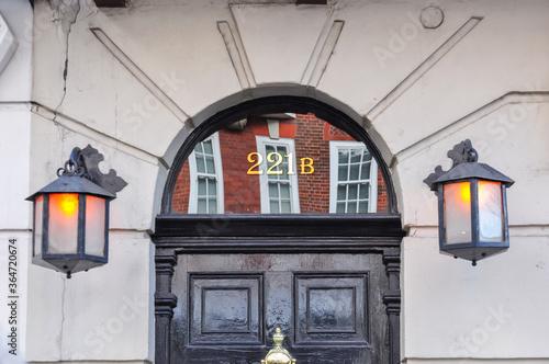 Photo Sherlock Holmes museum entrance on Baker street 221b, London, UK