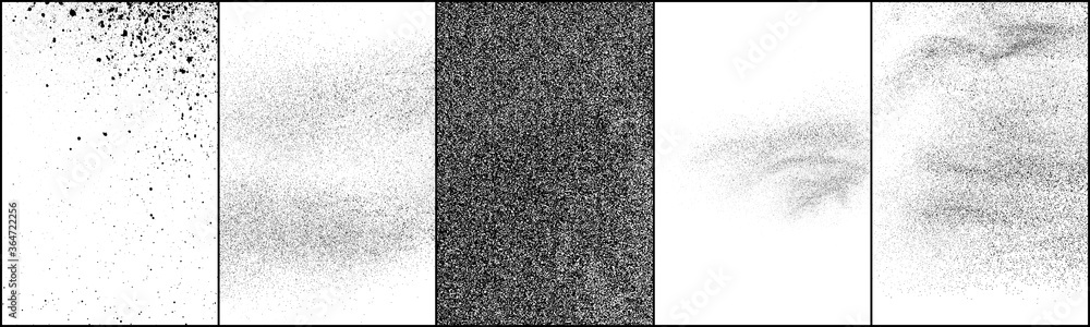 Fototapeta Set of distressed black texture. Dark grainy texture on white background. Dust overlay textured. Grain noise particles. Rusted white effect. Halftone vector illustration, Eps 10.