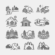 Log Cabin In Forest Vector Lin...