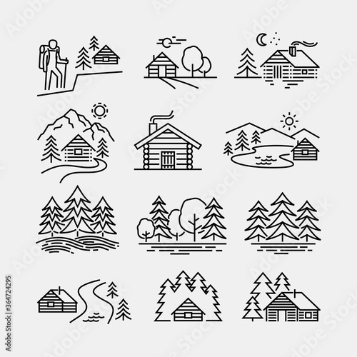 Log Cabin in Forest Vector Line Icons Fotobehang