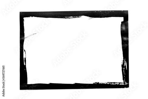 Fotografie, Obraz Black grunge frame isolated on white background.