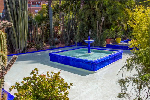 Photo Amazing pool and small fountain  in Majorelle Garden in Marrakesh