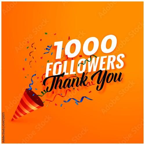 1000 followers thank you background with confetti Tapéta, Fotótapéta