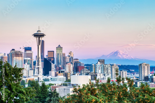 Fotografering Seattle Cityscape with Mt
