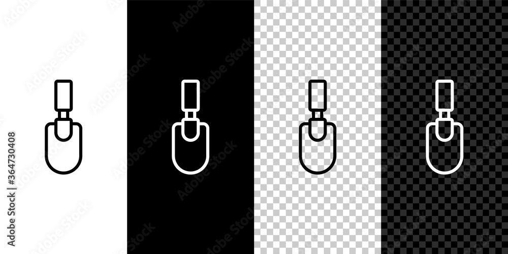 Fototapeta Set line Garden trowel spade or shovel icon isolated on black and white background. Gardening tool. Tool for horticulture, agriculture, farming. Vector.