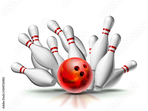 Canvastavla Red Bowling Ball crashing into the pins