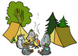 Cartoon drawing of hedgehogs as scouts in the woods by the fire singing and playing the guitar in the woods with a tent