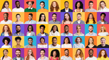 Set Of Mixed Race People Portr...