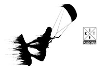 Kitesurfing And Kiteboarding. Silhouette Of A Kitesurfer. Man In A Jump Performs A Trick. Big Air Competition. Vector Illustration. Thanks For Watching