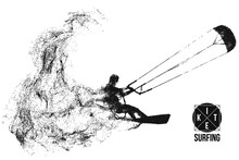 Kitesurfing And Kiteboarding. Silhouette Of A Kitesurfer. Freeride Competition. Vector Illustration. Thanks For Watching