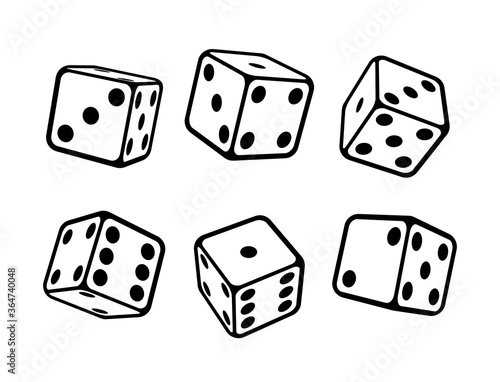 Game dice isometric icons set isolated vector illustration Fototapeta