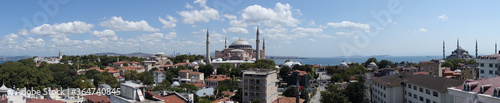Fotografia, Obraz PANORAMIC VIEW OF HAGIA SOPHIA, BLUE MOSQUE AND TOPKAPI PALACE