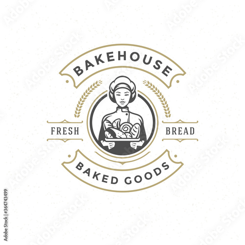 Bakery badge or label retro vector illustration baker woman holding basket with bread silhouette for bakehouse Canvas Print