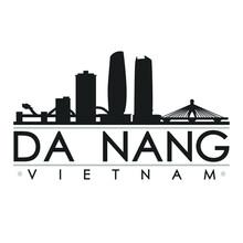 Da Nang Vietnam Skyline Silhouette Design City Vector Art Famous Buildings.