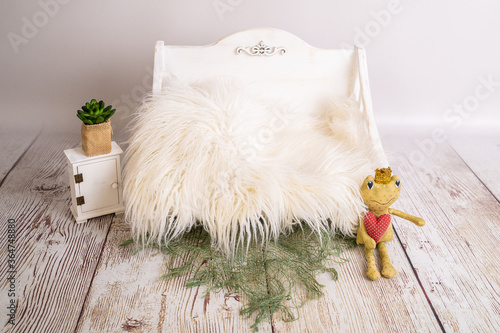wooden bed for newborn photography Canvas Print