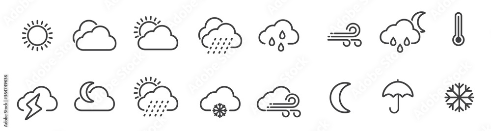 Fototapeta Weather icons set in line style, Weather isolated on white background. Clouds logo and sign, vector illustration