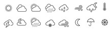Weather Icons Set In Line Style, Weather Isolated On White Background. Clouds Logo And Sign, Vector Illustration