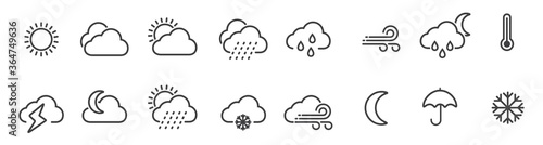 Fototapeta Weather icons set in line style, Weather isolated on white background. Clouds logo and sign, vector illustration obraz