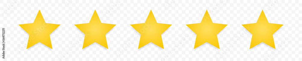Fototapeta 5 gold stars quality rating icon. Five yellow star product quality rating. Golden star vector icons. Stars in modern simple with shadow. Vector illustration. - obraz na płótnie