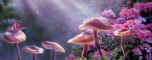 Magical Fantasy Mushrooms In Enchanted Fairy Tale Dreamy Elf Forest With Fabulous Fairytale Blooming Pink Rose Flower And Butterfly On Mysterious Background, Shiny Glowing Stars And Moon Rays In Night