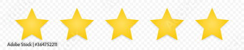 Fototapeta Quality rating symbols. Set of five-pointed yellow stars with shadow isolated on transparent background. Product quality assessment icons. Vector illustration. obraz na płótnie