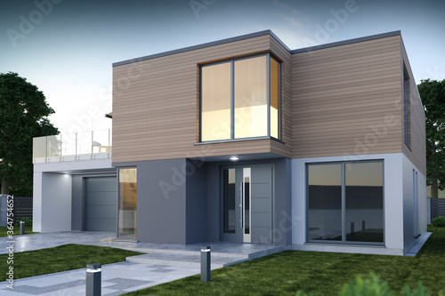 Front of modern house, exterior view - 3D illustration