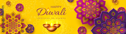 Fototapeta Diwali, festival of lights holiday banner with paper cut style of Indian Rangoli and diya - oil lamp. Purple color on yellow background. Vector illustration. obraz