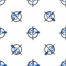 Line Hunt On Duck With Crosshairs Icon Isolated Seamless Pattern On White Background. Hunting Club Logo With Duck And Target. Rifle Lens Aiming A Duck. Colorful Outline Concept. Vector.