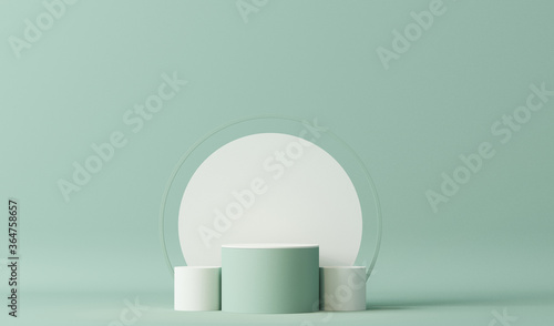 Fototapeta Minimal scene with podium and abstract background. Pastel blue and white colors scene. Trendy 3d render for social media banners, promotion, cosmetic product show. Geometric shapes interior.  obraz