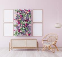 Frame Mock Up Design In Pink R...