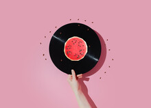 Vinyl Record And Watermelon On A Pastel Background. Fun Concept Of Good Mood.