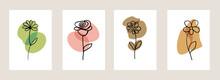 Line Art Flower Set. One Line ...
