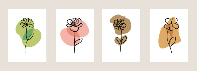 Line art flower set. One line drawing. Fancy line art. Trendy concept for the logo, card, banner, poster flyer, vector illustration.