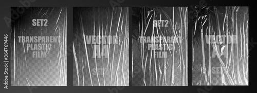 Obraz vector illustration. texture transparent stretched film polyethylene. vector design element graphic rumpled plastic warp - fototapety do salonu