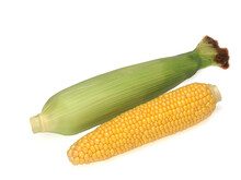 Two Ears Of Corn Isolated On A...