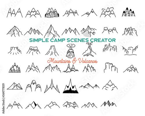 Fototapeta Simple vector mountains icons shapes set. Logo creation kit. Outdoor adventure line art mountain elements bundle. Silhouette linear concept. Stock vector collection obraz