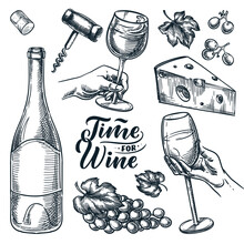 Time For Wine Vector Hand Drawn Sketch Illustration. Human Hand Holding Wine Glass. Doodle Vintage Design Elements Set