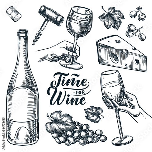 Time for wine vector hand drawn sketch illustration. Human hand holding wine glass. Doodle vintage design elements set © Qualit Design