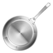 Frying Pan Or Skillet Pan Isolated On White Background. Top View Of Stainless Steel Frypan. Metal Skillet Pan. Cooking Pot And Pan