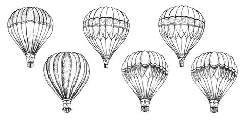 Air balloon. Hand drawn illustration. Vector
