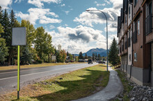 The Street Of Canmore Town With Building And Car On Highway In Canada