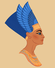 Egyptian Queen Nefertiti Isolated On White Background. Great Royal Wife Of The Egyptian Pharaoh Akhenaten. Illustration Isolated Vector.