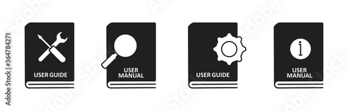Valokuva User guide book icon set in flat style