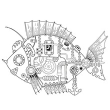 Steampunk Vector Coloring Page...