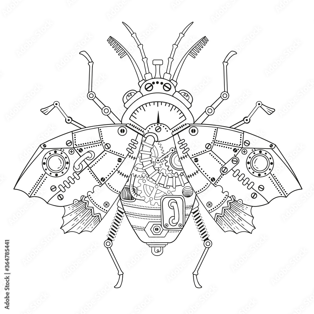 Fototapeta Steampunk vector coloring page. Vector coloring book for adult for relax and medetation. Art design of a fictional mechanical fly