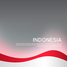 Cover, Banner In National Colors Of Indonesia. Abstract Waving Flag Of Indonesia. Creative Background For Patriotic Holiday Card Design. National Poster. Vector Design